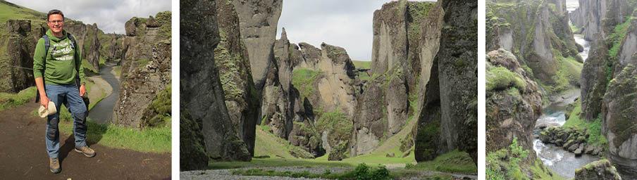 De Fjaðrárgljúfur-kloof met hyaloklastiet
