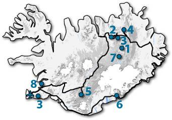 Bovengenoemde locaties op IJsland.