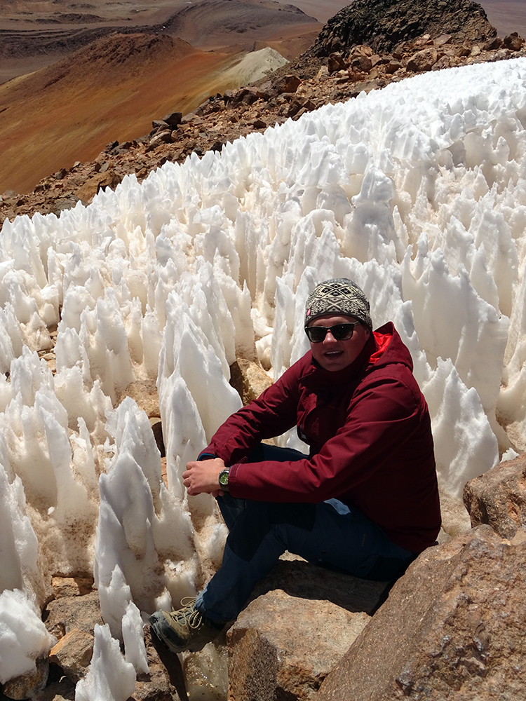 Amongst penitentes as the summit of Cerro Toco (5,604 m). The same